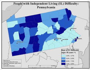Map of PA showing rates of people with IL difficulty by county. See Pennsylvania State Profile page for full text description.