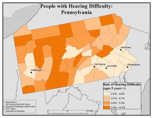 Map of Pennsylvania showing rates of people with hearing difficulty by county. See Pennsylvania State Profile page for full text description.