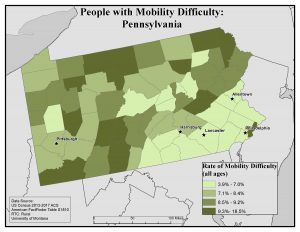 Map of PA showing rates of people with mobility difficulty by county. See Pennsylvania State Profile page for full text description.