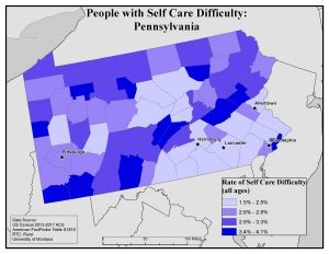 Map of PA showing rates of people with self care difficulty by county. See Pennsylvania State Profile page for full text description.