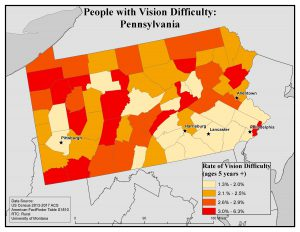 Map of Pennsylvania showing rates of people with vision difficulty. See Pennsylvania State Profile Page for full text description.