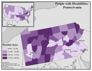 Map of Pennsylvania showing disability rates by county. See PA State Profile page for full text description.