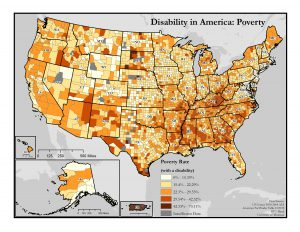 This is a map of the United States which depicts poverty rates among people with disabilities by county.