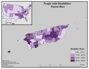 Map of Puerto Rico showing rates of disability at the municipality level. Full text description on page.