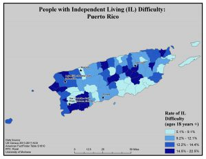 Map of Puerto Rico showing rates of people with IL difficulty by county. See Puerto Rico page for text description.