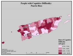 Map of Puerto Rico showing rates of people with cognitive difficulty by county. See Puerto Rico page for text description.