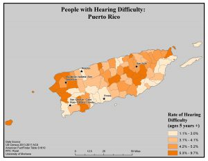 Map of Puerto Rico showing rates of people with hearing difficulty by county. See Puerto Rico page for text description.