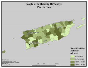 Map of Puerto Rico showing rates of mobility difficulty by county. See Puerto Rico page for text description.