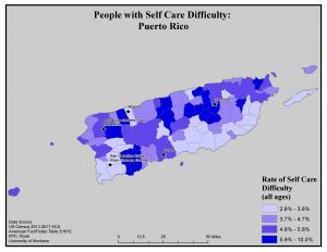 Map of Puerto Rico showing rates of people with self care difficulty by county. See Puerto Rico page for text description.