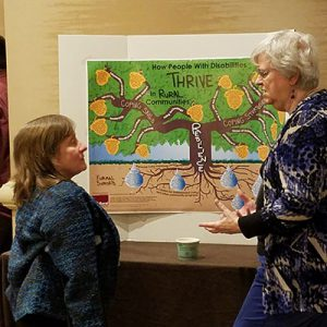 Two people discussing poster at conference