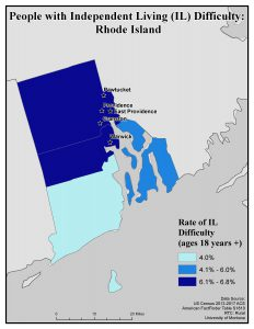 Map of RI showing rates of people with IL difficulty by county. See RI State Profile page for full text description.