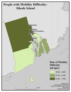 Map of RI showing rates of people with mobility difficulty by county. See RI State Profile page for full text description.