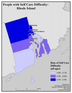 Map of RI showing rates of people with self care difficulty by county. See RI State Profile page for full text description.
