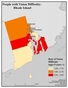 Map of RI showing rates of people with vision difficulty by county. See RI State Profile page for full text description.