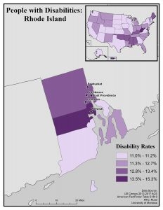 Map of Rhode Island showing disability rates by county. Full text description on RI State Profile page.