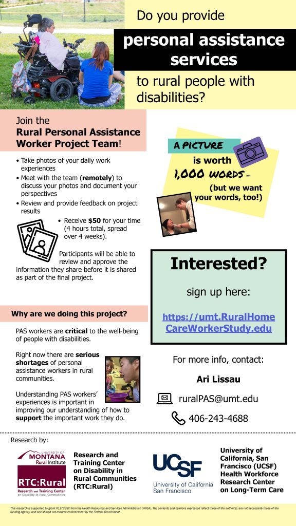 Rural PAS worker project team flyer. Text description in post.