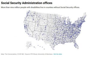 screen shot of a map of the US showing locations of Social Security Administration offices in every state. Click on the image to link to the article.