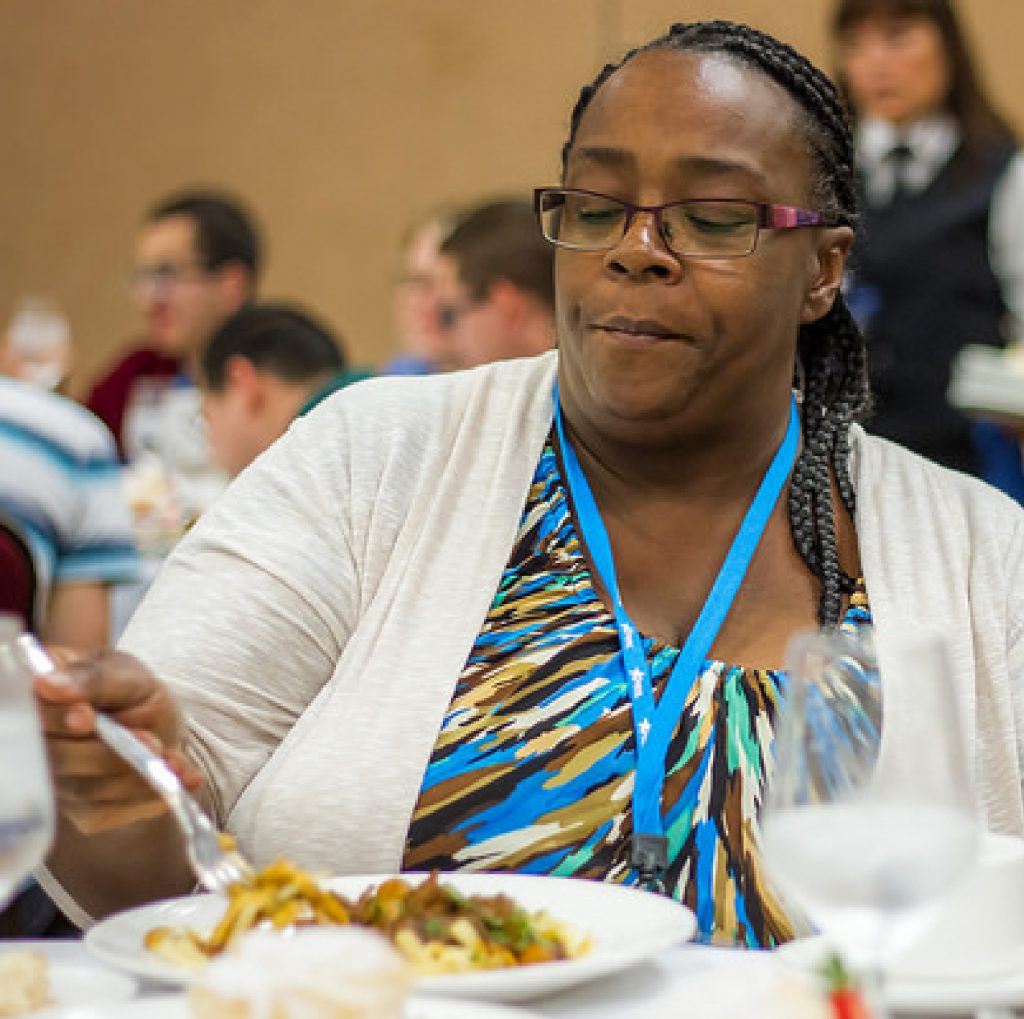 Sharon Washington, Housing Specialist for the Supportive Services for Veterans Families, eats a healthy meal at the 2016 APRIL Conference