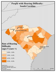 Map of SC showing hearing difficulty rates. See SC State Profile page for text description.
