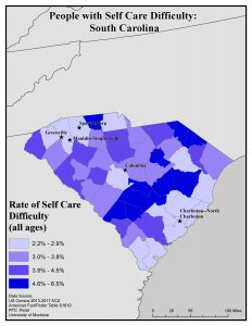 Map of SC showing self care difficulty rates. See SC State Profile page for text description.