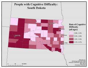 Map of South Dakota showing rates of people with cognitive difficulty by county. See South Dakota State Profile page for full text description.