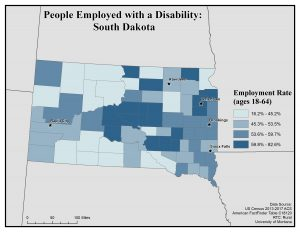 Map of SD showing rates of people with disability who are employed. See SD page for text description.