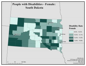Map of SD showing rates of females with disability. See SD page for text description.