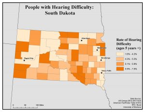 Map of South Dakota showing rates of people with hearing difficulty by county. See South Dakota State Profile page for full text description.