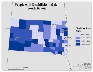 Map of SD showing rates of males with disability. See SD page for text description.