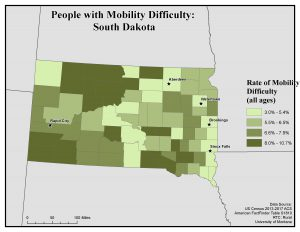 Map of South Dakota showing rates of people with mobility difficulty by county. See South Dakota State Profile page for full text description.