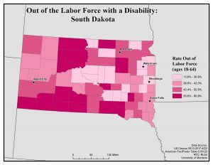 Map of SD showing rates of people with disability who are out of the labor force. See SD page for text description.