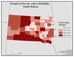 Map of SD showing rates of people with disability in poverty. See SD page for text description.