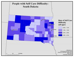 Map of South Dakota showing rates of people with self care difficulty by county. See South Dakota State Profile page for full text description.