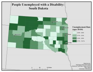 Map of SD showing rates of people with disability who are unemployed. See SD page for text description.