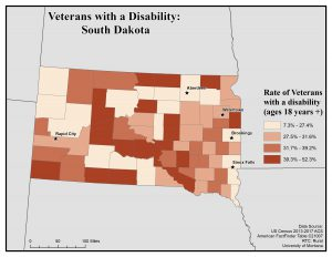 Map of SD showing veterans with disability. See SD page for text description.