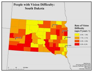 Map of South Dakota showing rates of people with vision difficulty by county. See South Dakota State Profile page for full text description.