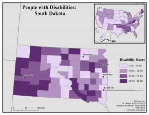 Map of South Dakota showing disability rates by county. See South Dakota State Profile page for full text description.