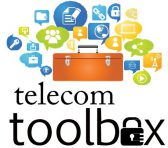 Telecom Toolbox logo. A toolbox with social media icons in speech bubbles floating above it.