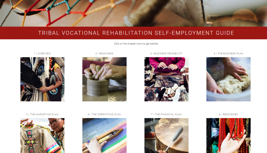 Screenshot of the Tribal Vocational Rehabilitation Self-Employment Toolkit homepage