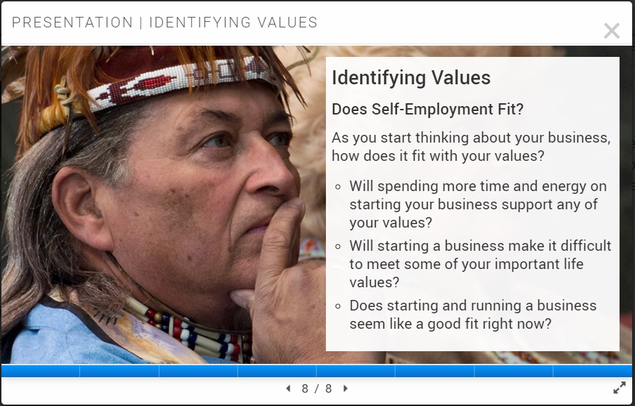 Screen shot of slide from TVR Self-Employment Toolkit website. See caption for full text.