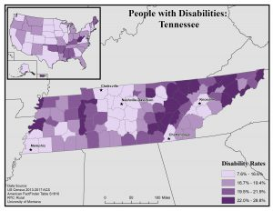 Map of Tennessee showing disability rates by county. See Tennessee State Profile for full text description.