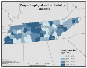 Map of TN showing rates of people with disabilities who are employed by county. See TN State Profile page for full text description.
