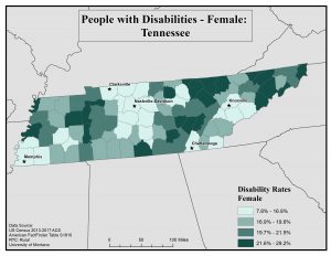 Map of TN showing rates of females with disability by county. See TN State Profile page for full text description.