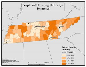 Map of TN showing rates of people with hearing difficulty by county. See TN State Profile page for full text description.
