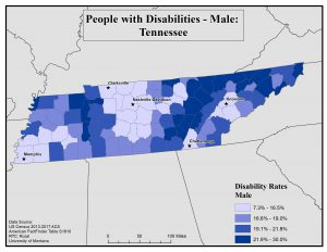 Map of TN showing rates of males with disability by county. See TN State Profile page for full text description.