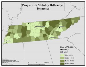 Map of TN showing rates of people with mobility difficulty by county. See TN State Profile page for full text description.
