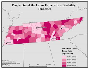 Map of TN showing rates of people with disabilities out of the labor force by county. See TN State Profile page for full text description.