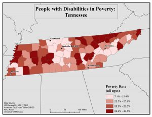 Map of TN showing rates of people with disability who are in poverty by county. See TN State Profile page for full text description.