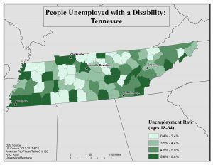 Map of TN showing rates of people with disabilities who are unemployed by county. See TN State Profile page for full text description.