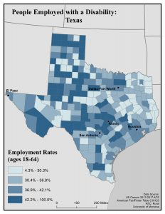 Map of Texas showing rates of people with disability who are employed. See Texas State Profile page for full text description.